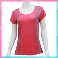 Blank design beaded round neck t shirt for ladies