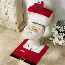 2016 New 3pcs/set Fashion Santa Clause Toilet Seat Cover & Rug Bathroom Set Christmas Decorations For Home Christmas Ornament