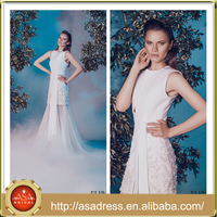 ALD11 2016 Exceptionally Stunning Design A Line Evening Party Gown Crepe Sleeveless White Prom Dress for Special Occasion Party