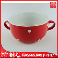 stock cheap price ceramic bowl w/bamboo cover or preservation cover