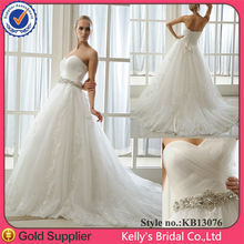 Romantic design sweetheart sleeveless Of white fabric for wedding dress with detachale beaded belt