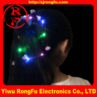 Fiber Optic flashing rose hair light up LED rose hair hair fiber