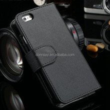 High quality Plain skin Leather folding Wallet Case For iphone 6 cell Phone Bag Flip Cover with Stand Card Holder vintage Black