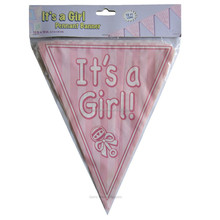 IT'S A Girl Pink Pennant paper Banner For baby shower decoration