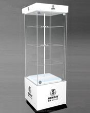 Wholesale retail merchandise jewelry glass tower display case lighted locks shelves NEW