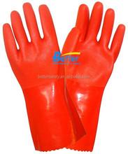 Sandy Finished Hi-Viz Red PVC Hand Gloves Interlock Lined
