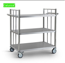 High Quality Three layers warehouse logistics utility trolley,rolling storage hand truck,stainless steel industrial tool cart wi