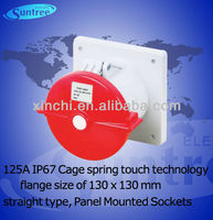 ip67 125A round pin socket outlet, Cage spring touch technology, flange size of 130 x 130 mm