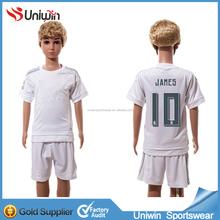 2015 16 White Home Jersey Kids Soccer Uniforms JAMES