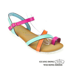 matching colors thong flat comfort ankle strap sandals summer fashion sandals 2015