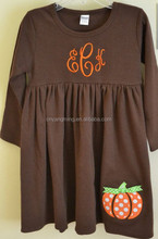 Pumpkin Applique Dress Great for Fall Halloween and Thanksgiving for baby girls