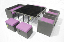 MAGIC DUO PE RATTAN SOFA SET 7P , KD 2 IN 1 outdoor garden dining /sofa furniture CE approval