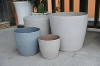 painted frosted sand blasted decorated plastic flower pot 2015 new arrive