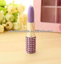 Short plastic lipstick ballpoint pen/Rhinestone lipstick pen