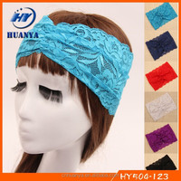 Latest style fancy elastic lece wholesale hair accessories for women 2015