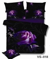 Cotton linen Wholesale Purple Rose and Print 3d Satin Cotton bed cover