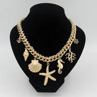 2015 Latest Handmade Golden Chunky Chain Starfish Pendant Necklace