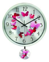 Home Decorative Metal pendulum wall clock,modern design for kids