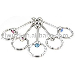 Tongue Piercing With Stone Tongue - Barbell - S005