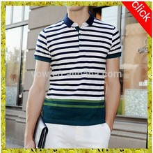 Wholesale 2015 custom latest striped casual cotton polo t shirt designs for men