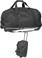 Polyester travel duffel bag trolley travelling bag with wheel