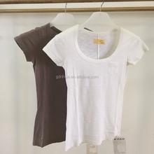 Short sleeve bamboo cotton unisex basic blank t shirt with pocket