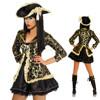 Ladies Caribbean Pirate Wench Costume Women Jacket Dress Eye Patch BWG3066