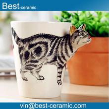 3D Hand-Painted Ceramic Animal Mug, Cat Style