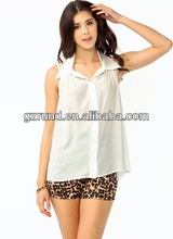 2014 fashion ladies top,sexy young ladies sleeveless white color tops
