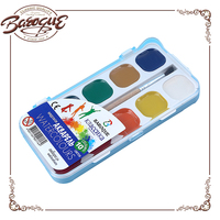 Bulk Wholesale Professional Quality Round Watercolor Paint Cakes, 10 Color Solid water color cake with artish brush