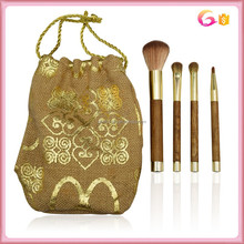 Pro Essential Tools 4pc cosmetic makeup studio brush set with gold hot stamp in burlap pouch