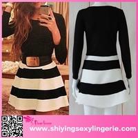 wholesale clothing dubai Sexy Long Sleeve Belted Black White Stripes Dress