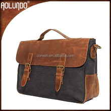 Stylish long strap leather handle invisible green color canvas briefcase leather bag for men