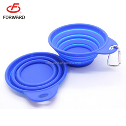 Silicone Pet Expandable/Collapsible Travel Bowl with Carabineer for Leash