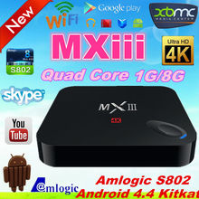 Amlogic S802 Quad Core MX 3 imito mx3 android 4.4 smart tv box MXIII 1G RAM 8G ROM