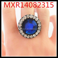 European and American big European and American fashion exaggerated sapphire ring hollow joints can be adjusted