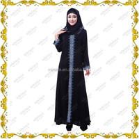 MF21340 2015 Muslim long dress & black abaya with lace and stone