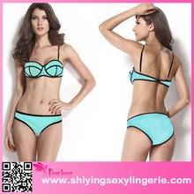 2015 New Sexy Light Blue Bikini Bathing Swimwear sex girls photos open Bandage Bikini