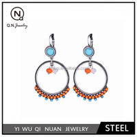 National wind colorful circle upscale bohemian alloy small earrings