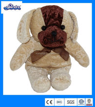 Stuffed Dog brown flower embossed Plush stuffed animal puppy