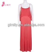 señora espaguetis correas solapamiento frontal vestido de doble capa cami maxi vestido