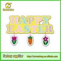 """""""happy easter """"glitter letters sticker with carrot hanging decoration made in china yiwu city"""