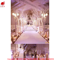 Golden artificial plant tree wedding hall decoration with led
