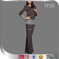 Hot Selling Malaysia Baju Kurung Beautiful Lace Sleeves Dress Fashionable Islamic ladies Kebaya