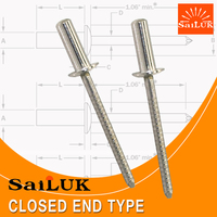 All stainless steel closed electric cable fasteners rivet