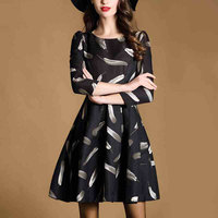new arrival feather floral print woman dress, fashion ladies dresses for middle age women