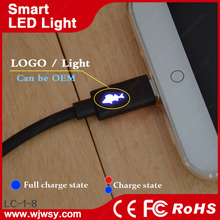 Universal Micro Usb Cable With Led Light Flowing Current Sync Data Adapter Connector Charger LED Light USB Cable For Samsung HTC