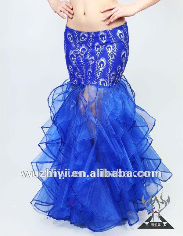 nuevo 2014 caliente de pavo real flor larga falda plisada