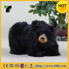 Black Color 13CM High Handmade Fur Toy Christmas Bear For Sale