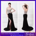 Elegante 2014 modelos cheio comprimento sweetheart bainha decote fenda alta preta lantejoulas vestido de noite longo( zx454)